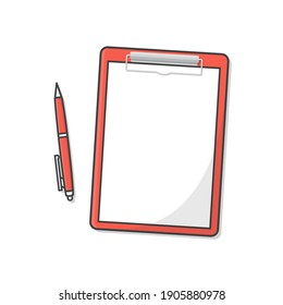 Clipboard With Blank White Paper And Pen Vector Icon Illustration. Flat Illustration Of Clipboard