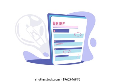Clipboard brief paper vector illustration. Business brief with red marks flat style. Short review with information. Summary or brief concept. Isolated on white background