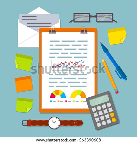 clipboard business plan charts graphs diagrams stock vector royalty
