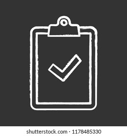 Clipboard with check mark chalk icon. Test, exam successfully completed. Verification and validation. Approved. Successfully tested. Isolated vector chalkboard illustration