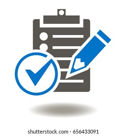 Clipboard check mark pencil vector icon. Compliance Regulations Rules Standards Laws illustration. Checklist sign. Voting, education.