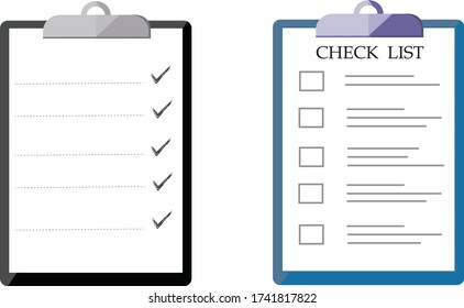 Clipboard and check marks. Flat style design. Clipboard with check mark sign tick on white checklist paper on transparent  background.