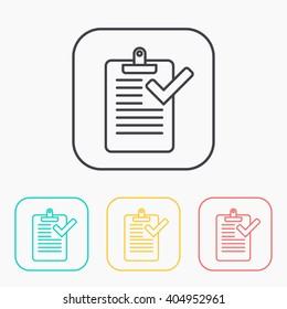 Clipboard with checklist color icon set