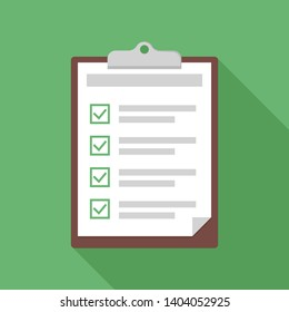 Clipboard with checklist. Exam or test form with checkboxes. Green background with shadow. EPS 10