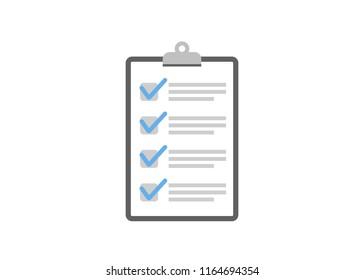 Clipboard checklist flat design. Check list vector illustration