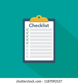 Clipboard with checklist. Flat vector icon