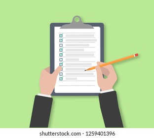 Clipboard with Checklist icon. Businessman Holding a Pencil Completed Checklist on Clipboard. Business concept. Hand filling checklist on clipboard. man signing a paper work document.