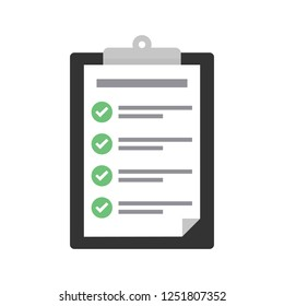 Clipboard with checklist icon. Flat illustration of clipboard with checklist icon for web with green check boxes on white background