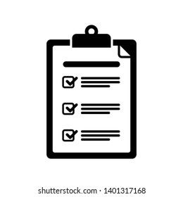 Clipboard with checklist icon. Flat style design of clipboard with checklist icon suitable for web isolated on white background
