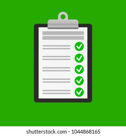 Clipboard with checklist icon on green background. Flat style design for web. Vector illustration.