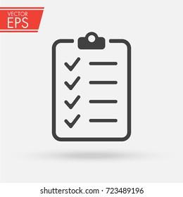 Clipboard with checklist icon. Paper clipboard document symbol. Note checklist vector illustration sign.