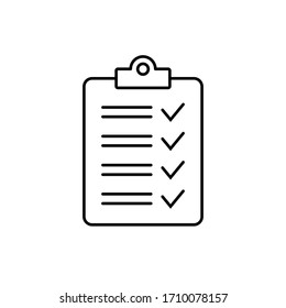Clipboard with checklist icon, symbol for web site and app design.