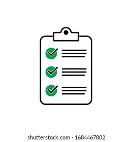 Clipboard with checklist icon for web with green check boxes isolated on white background.