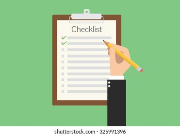 clipboard checklist productivity hand check flat vector