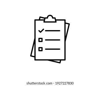 Checkliste für Zwischenablage oder Clipboard-Umfrage Formular Linie Art Vektorsymbol für Apps und Websites.