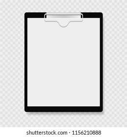 Clipboard with clamp, clutch. Gray background. Vector illustration