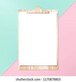 Clipboard with clean cheet of paper on pastel background.