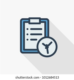 clipboard and clock, to-do list thin line flat color icon. Linear vector illustration. Pictogram isolated on white background. Colorful long shadow design.