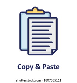 Clipboard, copy and paste outline with color fill inside Isolated Vector icon which can easily modify or edit