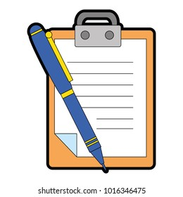 clipboard document with pen