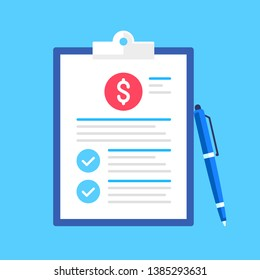 Clipboard with dollar sign, check marks and pen. Financial planning, business audit, business plan concepts. Flat design. Vector illustration