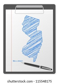 Clipboard with drawing New Jersey map. Vector illustration.