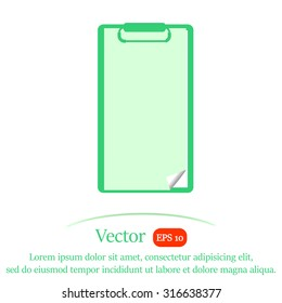 Clipboard with empty sheet of paper, vector icon.