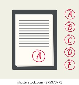 Clipboard with exam papers. The grading scale for the examination tasks