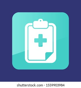 Clipboard flat icon. Medical vector. Graph symbol for your web site design, logo, app, UI. Vector illustration, EPS10.