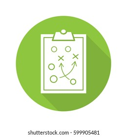 Clipboard game plan. Flat design long shadow icon. Sport game strategy scheme. Vector silhouette symbol
