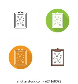 Clipboard game plan icon. Flat design, linear and color styles. Sport game strategy scheme. Isolated vector illustrations