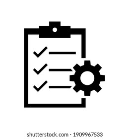 Clipboard and gear icon. Project management concept flat style. Technical support check list with cog. Software development concept. Vector illustration for web and app. EPS 10