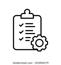 Clipboard and gear icon. Project management concept line style. Technical support check list with cog. Software development concept. Vector illustration for web and app. EPS 10
