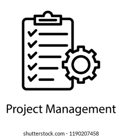 Clipboard and gear presenting project management concept