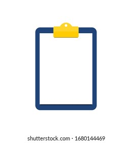 clipboard with golden clip and blank white paper isolated on white background. vector illustration