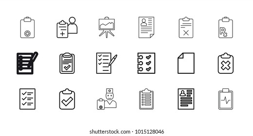 Clipboard icons. set of 18 editable outline clipboard icons: resume, paper, check list, doctor prescription, checklist
