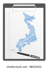 Clipboard with Japan drawing map. Vector illustration.