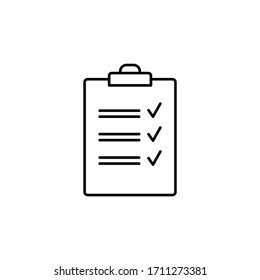 clipboard line illustration icon on white background