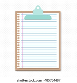 Clipboard with a Lined sheet  . Simple vector illustration. To do list. Notes. Tasks.