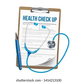 Clipboard With List Of Health Check Up Vector. Paper With Medical Report On Talbot Clipboard, Pen And Stethoscope Instrument Element Of Doctor. Healthcare Concept Realistic 3d Illustration
