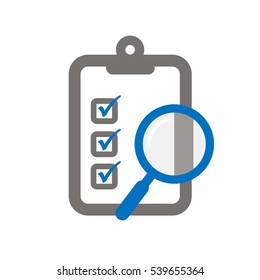 Clipboard with a magnifier symbolizing assessment checklist