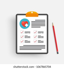 Clipboard with medical cross and pencil. Clinical record, prescription, claim, medical check marks report, health insurance concepts. Premium quality. Modern flat design graphic elements.
