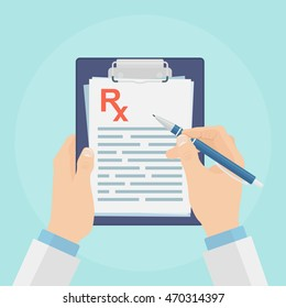 Clipboard with medical prescription isolated on blue background. Doctor writing Rx.  Pharmacist holds pad. Pharmacy. Healthcare. Vector illustration. Flat style