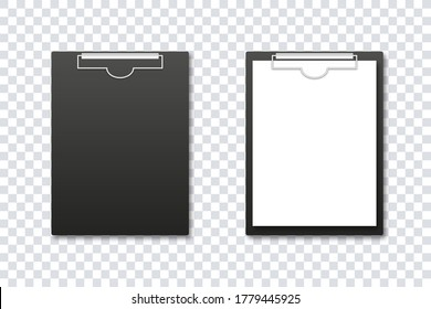 Clipboard mockup. Vector isolated illustration. Office folder. Notepad information board realistic design vector illustration. Realistic notebook template with paper and without. Stock vector. EPS 10
