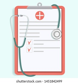 Clipboard, papers with medicine symbol and stethoscope - flat style - flat style - isolated on light background - vector.