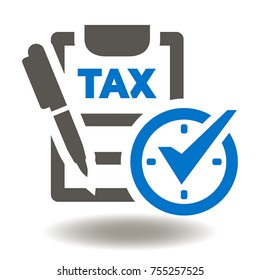 Clipboard Pen Clock Calendar Check Mark Icon Vector. Checklist Pencil Time Management Illustration. Taxes Payment Financial Business Logo. Tax Finance Symbol.