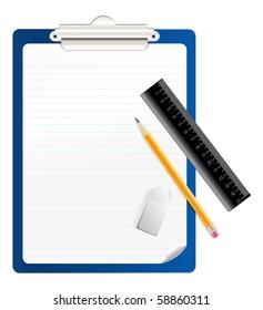 clipboard, pencil, eraser and ruler