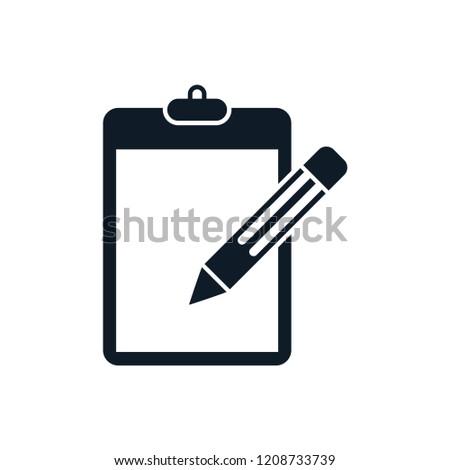 clipboard pencil icon logo template stock vector royalty free