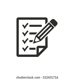 Clipboard pencil vector icon. Black illustration isolated on white background for graphic and web design.