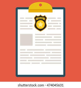 Clipboard with police report. Traffic, parking fine, citation, crime report, problems with police, subpoena concepts. Flat vector illustration.